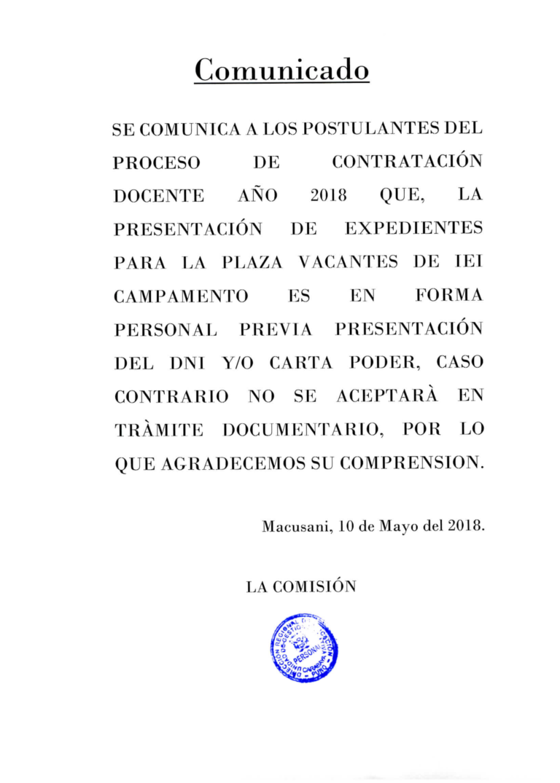 Convocatoria Contrato De Personal Docente 2018 Convoca A